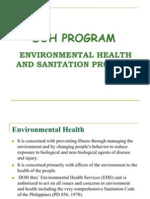 Environmental Health and Sanitation--ppt | Sanitation | Toilet