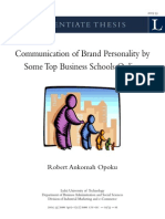 Thesis - Communication of Brand Personality by Some Top Business Schools Online