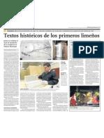 Textos Históricos de 1535 en la Biblioteca Nacional de Lima, Perú.