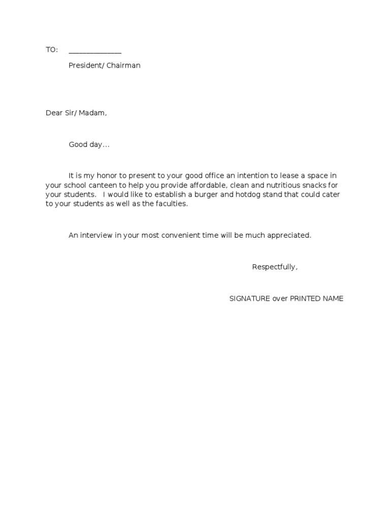 Letter of Intent2 – Sample Letter of Intent to Lease