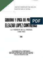 Tomo 26. Gobierno y época del presidente Eleazar López Contreras