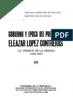 Tomo 29. Gobierno y época del presidente Eleazar López Contreras