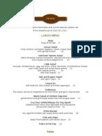 Prime Restaurant Menu