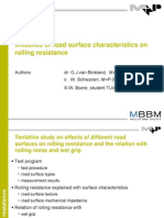 Influence Road Surface Charactertistics on Rolling Resistance