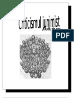 Criticismul Junimist-studiu de Caz.