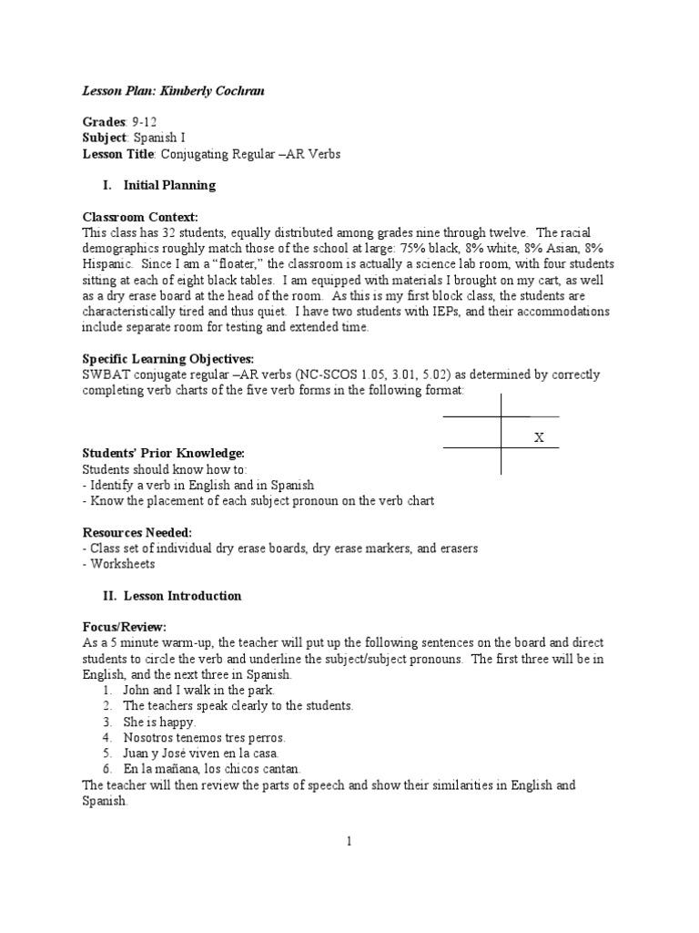 Uncategorized Ar Verbs Worksheet spanish i conjugating ar verbs lesson plan 1 grammatical conjugation english language