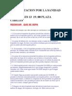 Manifestación Por La Sanidad Pública El día 13 en Madrid