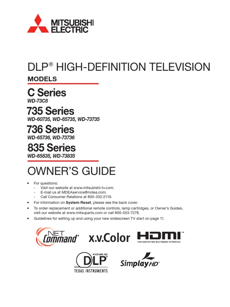 Mitsubishi Wd 73736 Dlp Hdtv Manual Hdmi High Definition Television As All Wireless Control System Ultrasonic Lampbrightness Controller