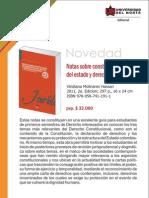 Notas sobre constitución, organización del estado y derechos humanos 2a. Edición