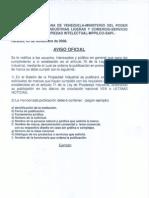 Aviso Oficial Servicio Autonomo de la Propiedad Industrial