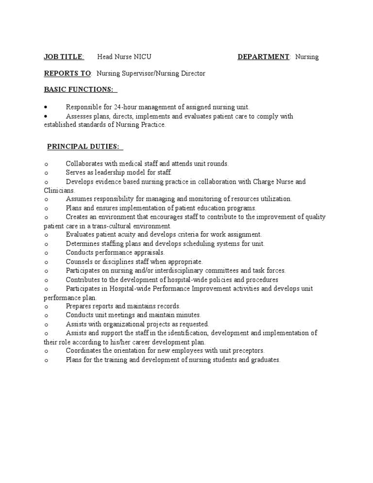 Job Description Head Nurse Nicu