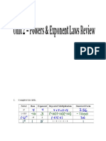 Powers and Expon Laws Review ANSWERS