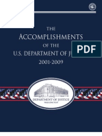 U.S. Department of Justice Accomplishments - 2001-2009