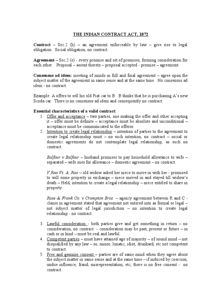 The indian contract act offer and acceptance consideration platinumwayz