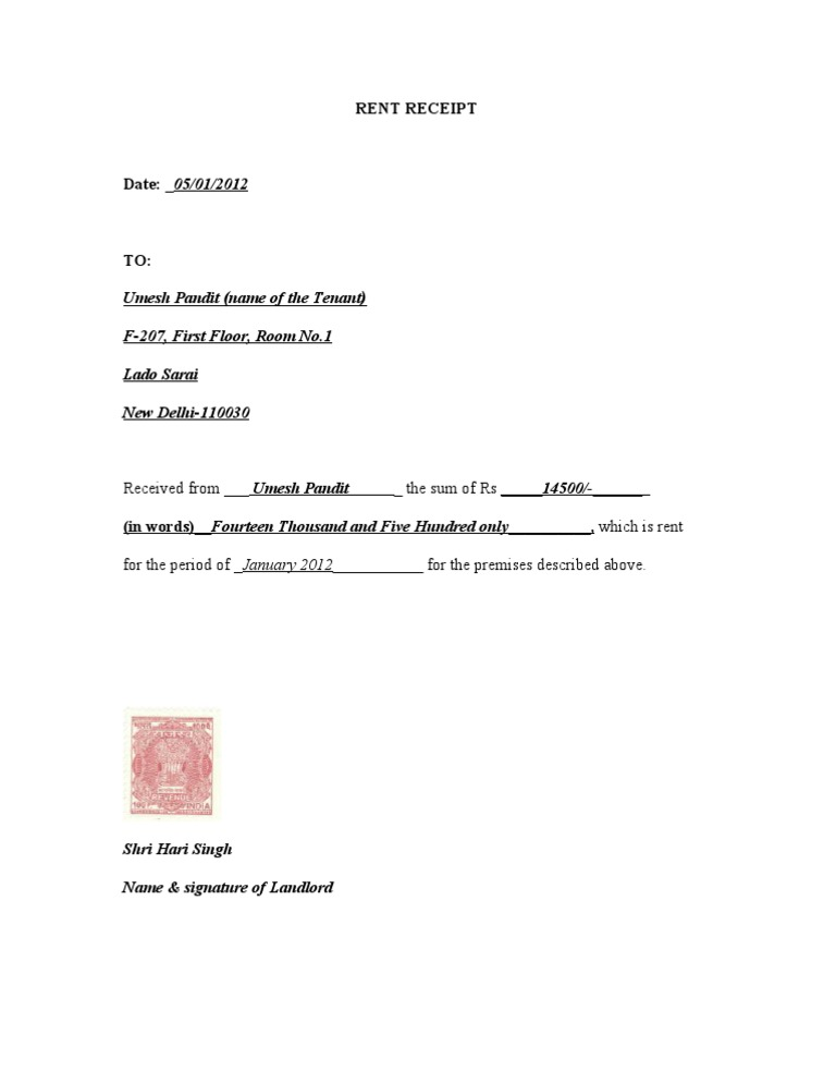 rent receipt with revenue stamp india 2011