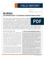 Report Refugees International:Burma an Opportunity With Letterhead