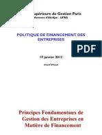 Politique de Fin an Cement Des Entreprises Ufra 2011