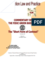 FIDIC Short Form Cover & Contents