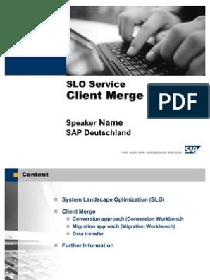 SAP SLO System Client Merge | Business Process | Sap Se