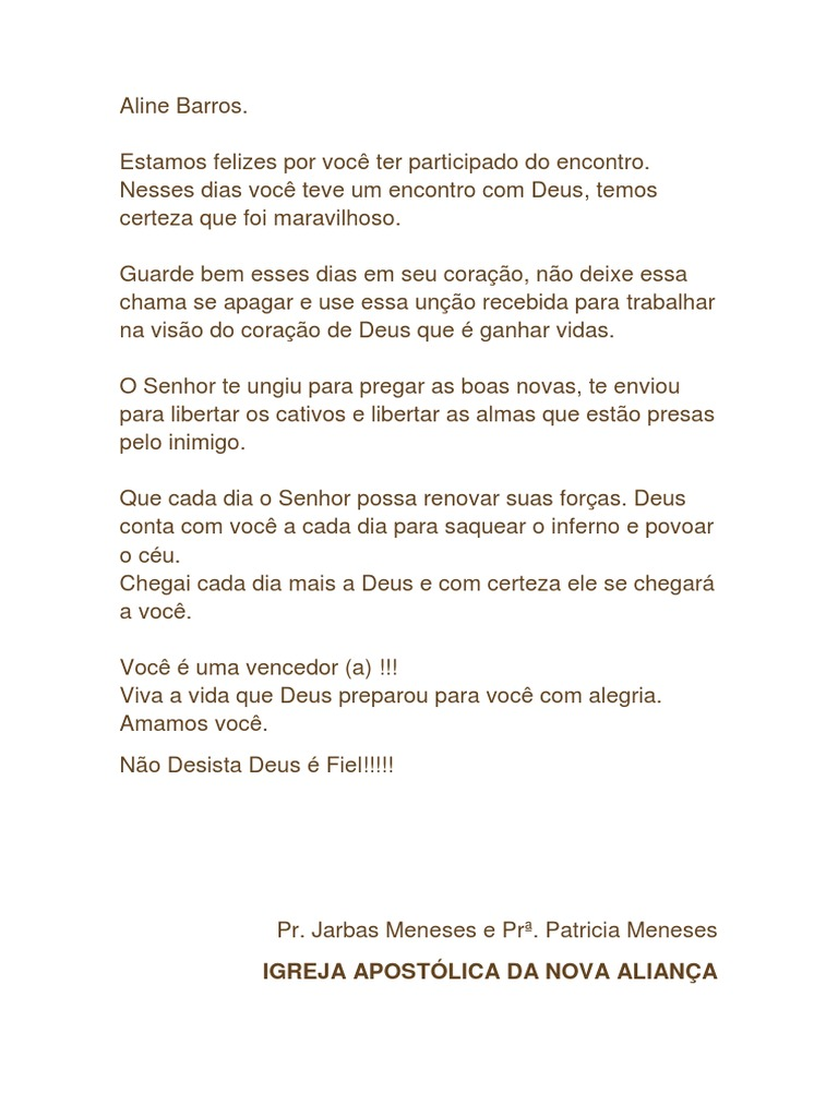 Carta Do Encontro Com Deus