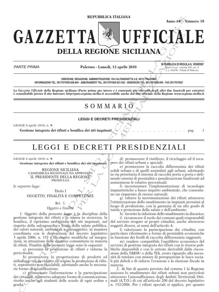 Rifiuti Legge Regione Sicilia 9 8 Aprile 2010 g10-18 | Waste