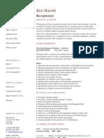 Receptionist CV Template