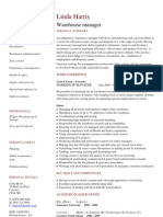Warehouse Manager CV Template