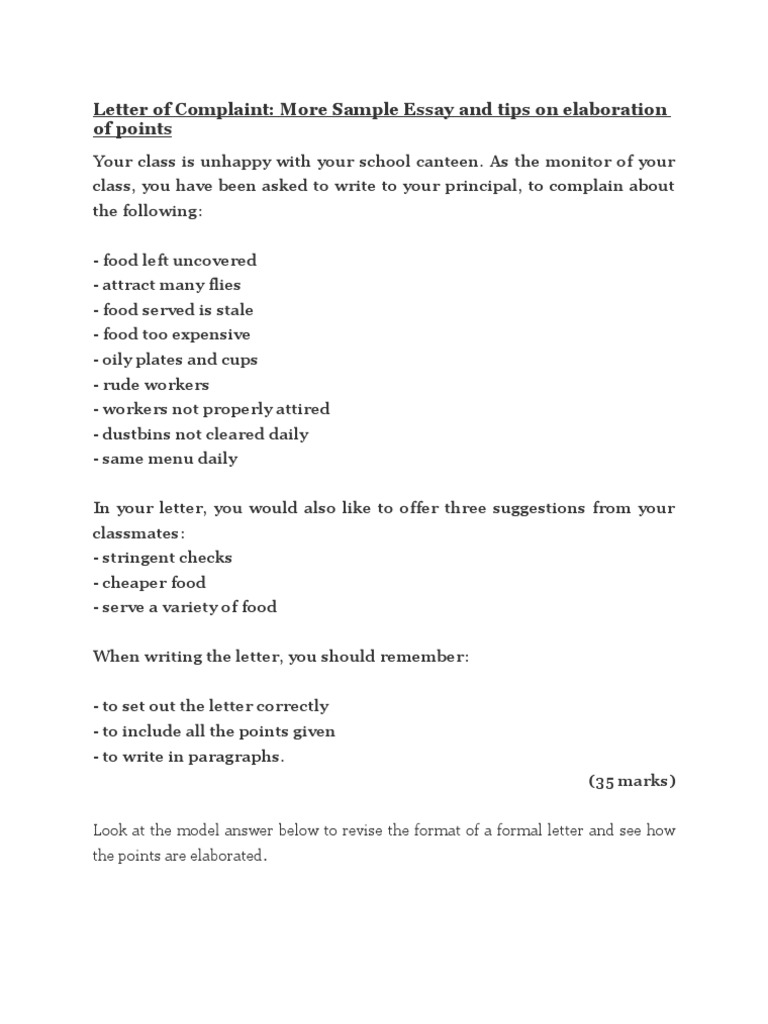 essay formal letter complaint about school canteen Formal letter of complaint/suspicious youths in neighbourhood tan ah beng 111 jalan kekwa taman bunga baru labels: essays (directed), spm no comments: post a comment newer post older post home subscribe to: post comments (atom) blog archive.
