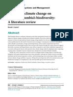 Impactsof Climate Change OnBritish Columbias Biodiversity