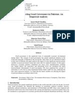 Factors Affecting Good Governance in Pakistan