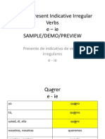 Spanish Present Indicative Irregular Verbs Sample-Demo
