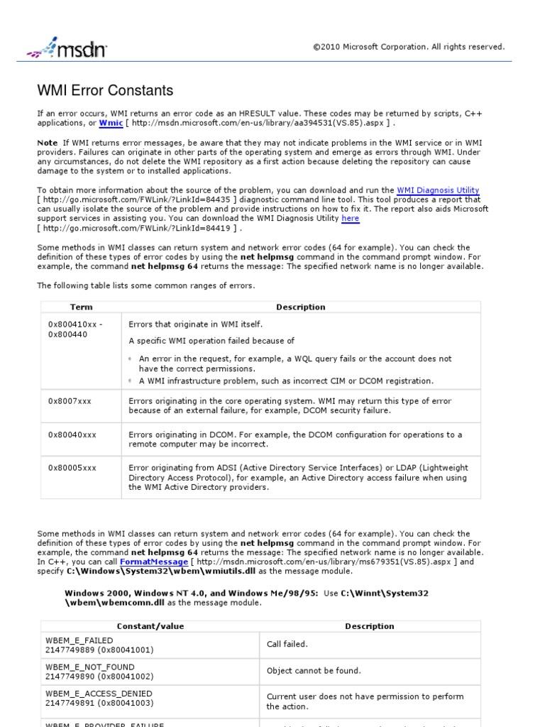 WMI Error Constants   Inheritance (Object Oriented