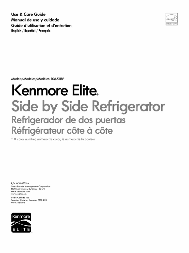 Kenmore Elite Side by Side Refrigerator 106.5118 (English Manual) |  Refrigerator | Electrical Connector