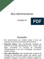 Direito Administrativo VII - Aula 13 - Atos Administrativos