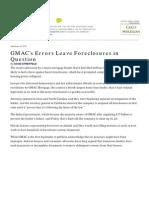GMAC Mortgage Errors - NYTimes
