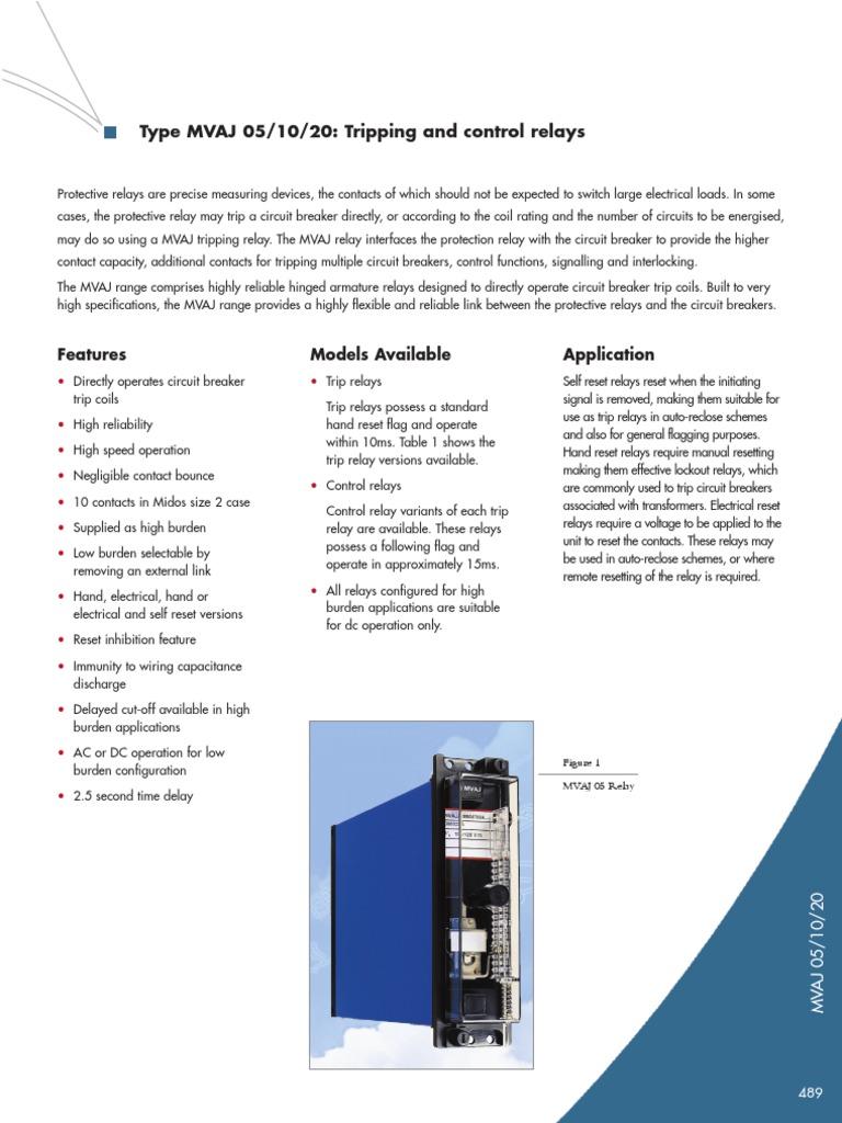 Mvaj 05 Trip Relay Capacitor And Circuit Breaker