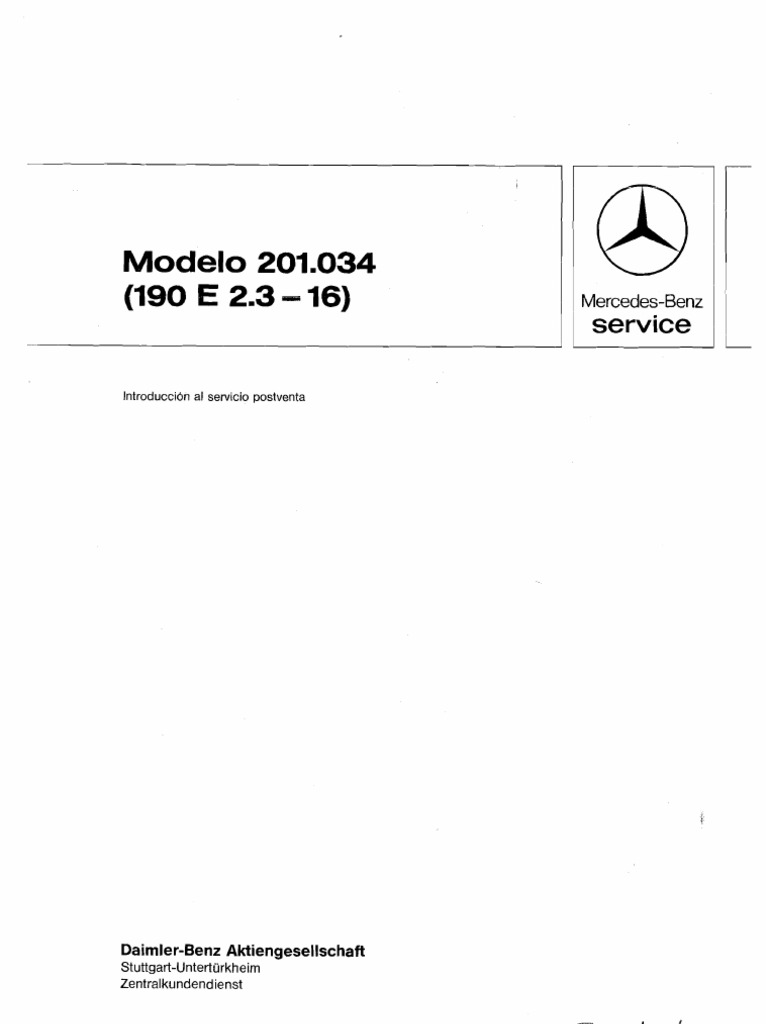Mercedes Benz 190E Repair Manual