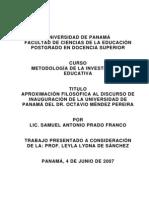 Aproximación Filosófica al Discurso de Inauguración de la Universidad de Panamá del Dr. Octavio Méndez Pereira.