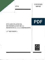 Norma COVENIN 849-83 ENVASES PLASTICOS. DETERMINACION DE LA RESISTENCIA A LA COMPRESION. (1ra. Revisión)