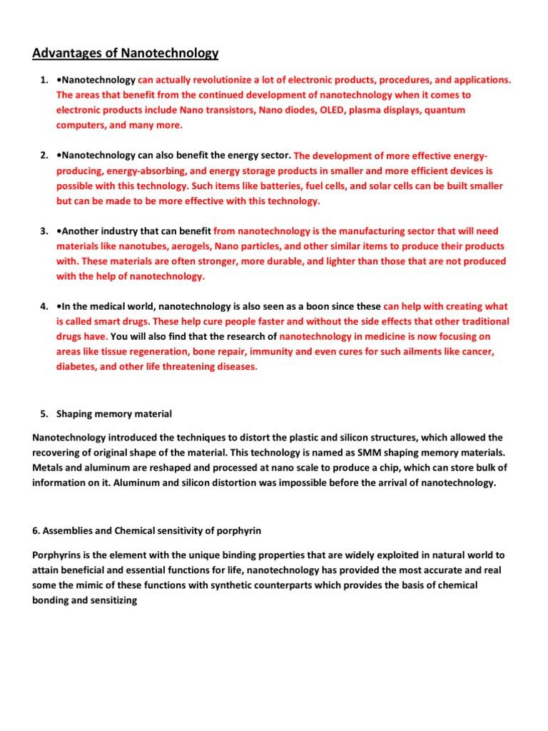 Advantages of Nanotechnology | Nanotechnology (33 views)