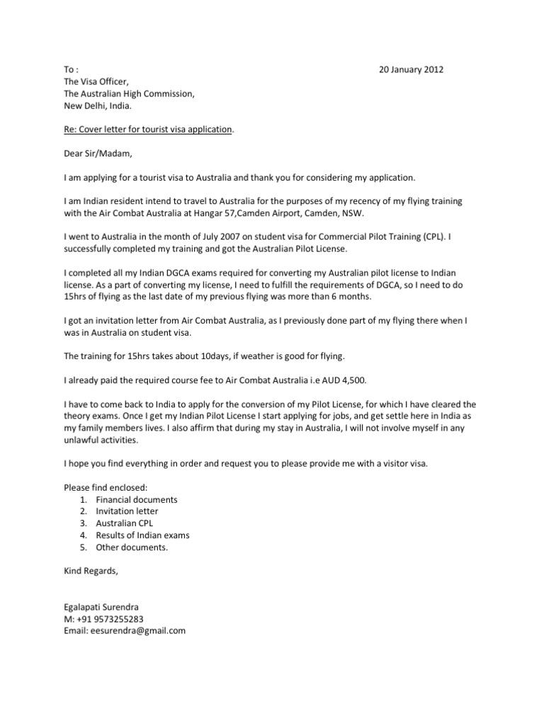 australia cover letter