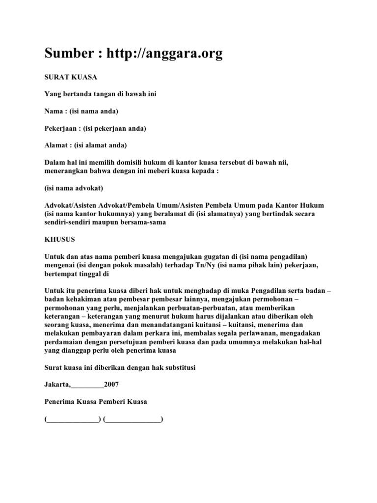 contoh surat kuasa sewa