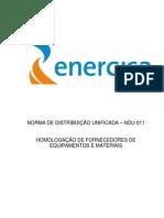 NDU 011 Homologação de Fornecimecedores de Equipamentos e Materiais