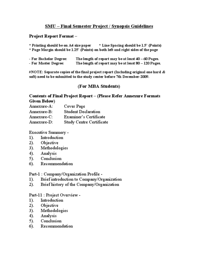 Project synopsis template synopsis format format of synopsis 7 smu final project guidelines title pages technology computing yelopaper Gallery