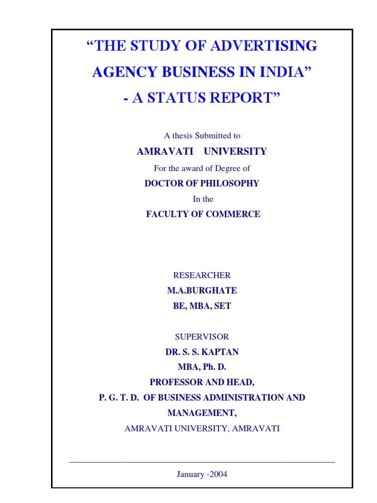 """0412372c87 A Doctoral thesis on """"THE STUDY OF ADVERTISING AGENCY BUSINESS IN INDIA""""- A  STATUS REPORT"""""""