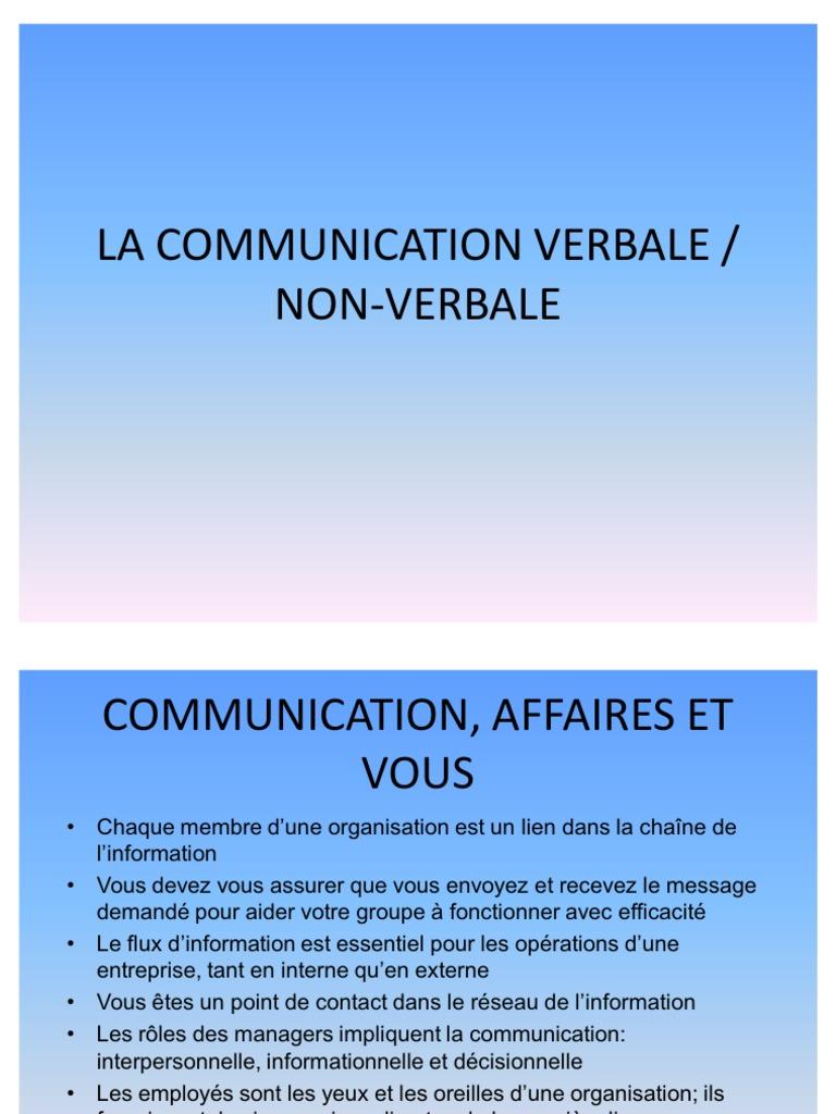 La Communication Verbale Non-Verbale