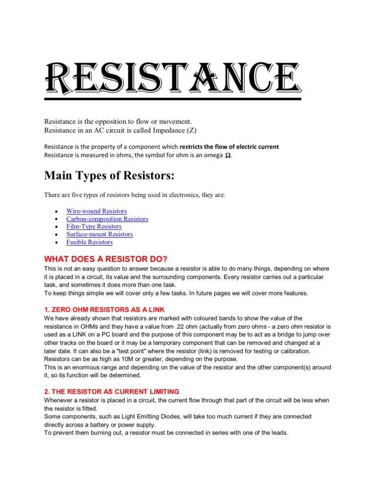 Resistance Resistor Electrical Resistance And Conductance