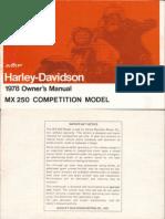 Harley Davidson MX250 - Owners Manual - 1978