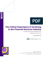 The Critical Importance of Archiving in the Financial Services Industry - ArcMail Technology & Osterman Research