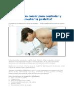 Que Se Debe Comer Para Controlar La Gastritis 2012